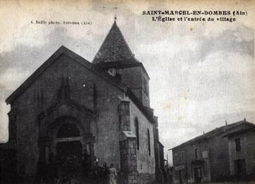 Eglise et restaurant la colonne St Marcel en Dombes